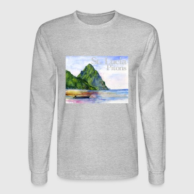 St Lucia Pitons Shirt - Men's Long Sleeve T-Shirt