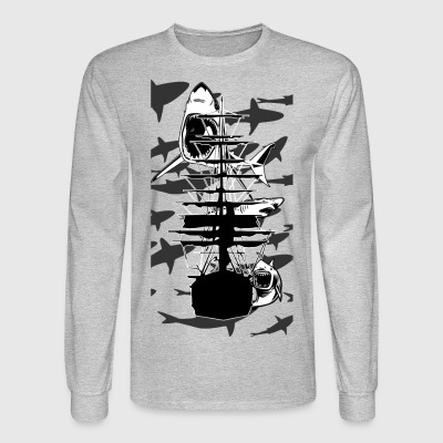 Lots of Sharks and a ship - Men's Long Sleeve T-Shirt