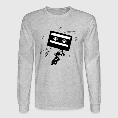 Retro cassette with music notes. Music logo. - Men's Long Sleeve T-Shirt