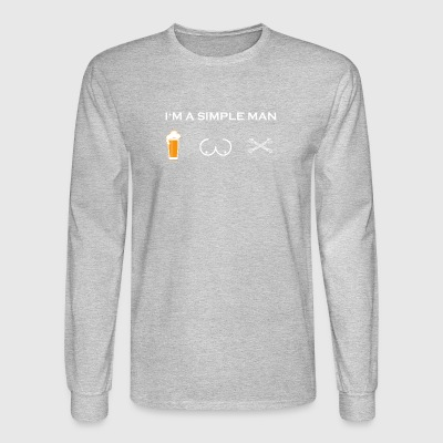 simple man like boobs bier beer titten mechaniker - Men's Long Sleeve T-Shirt