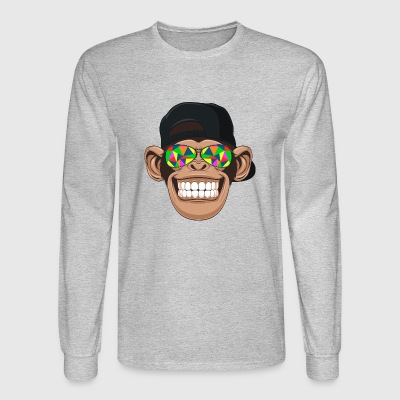 Smiling chimp monkey with kaleidoscope sunglasses - Men's Long Sleeve T-Shirt