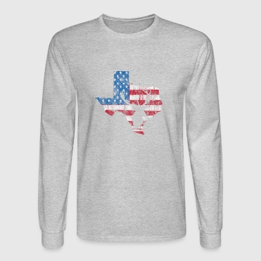 American Flag Texas Deer Hunting Distressed T-Shir - Men's Long Sleeve T-Shirt