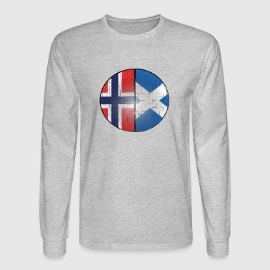 Norway and Scotland Puzzle Effect Dual Citizen DNA - Men's Long Sleeve T-Shirt