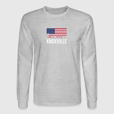 Knoxville Tennessee Skyline American Flag - Men's Long Sleeve T-Shirt