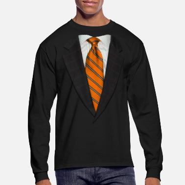 Up Orange Suit and NeckTie - Men's Long Sleeve T-Shirt
