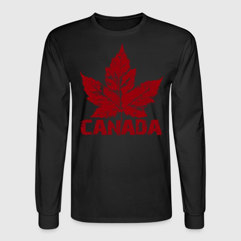 Cool Canada Souvenir Distressed Maple Leaf Art for - Men's Long Sleeve T-Shirt