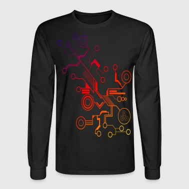Colorful Circuit LARGE PRINT - Men's Long Sleeve T-Shirt