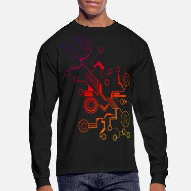Art Colorful Circuit LARGE PRINT - Men's Long Sleeve T-Shirt