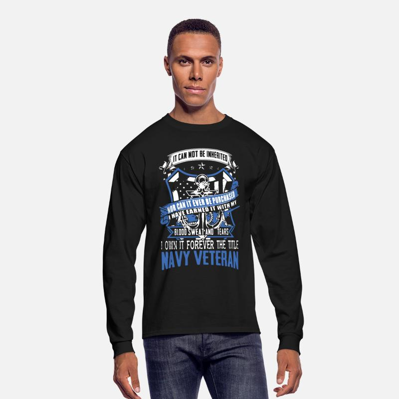 Navy Long sleeve shirts - Navy Veteran Shirt - Men's Longsleeve Shirt black