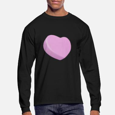 Candy Pink Candy Heart - ADD YOUR OWN CUSTOM TEXT - Men's Long Sleeve T-Shirt