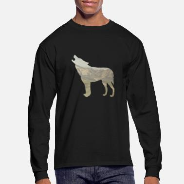 Landscape Wolf nature landscape wild animals Shirt Gift Cool - Men's Long Sleeve T-Shirt