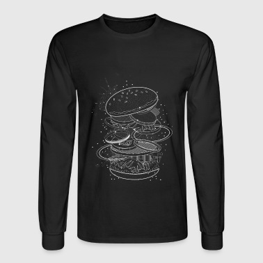 Burger Design made of white contours and stars - Men's Long Sleeve T-Shirt