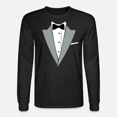Bow Tie Hilarious Tuxedo Shirt - Men's Long Sleeve T-Shirt