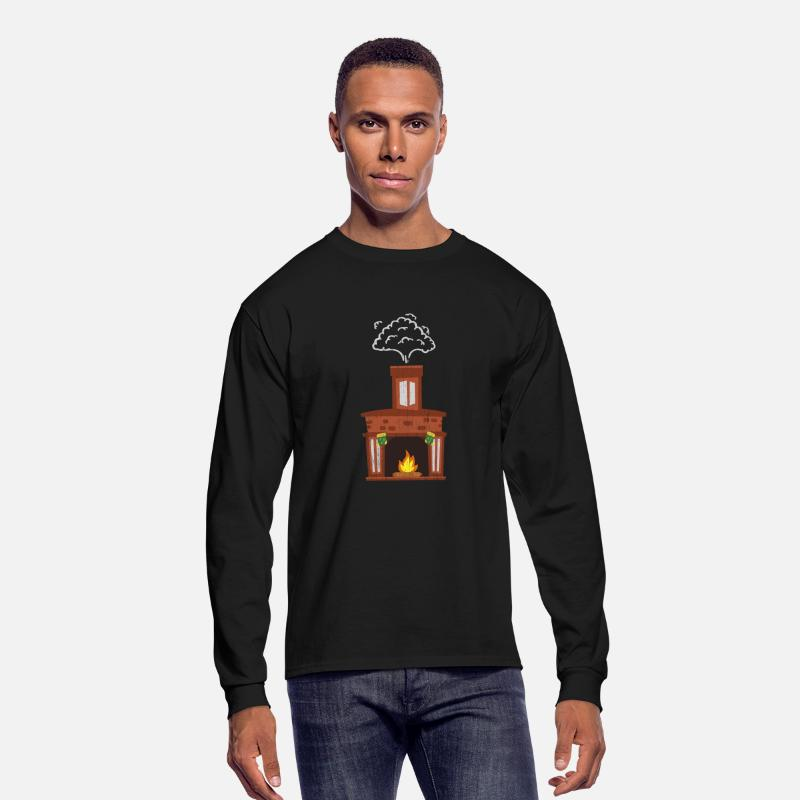 Ugly Christmas Sweater Men.Christmas Fireplace Kids Ugly Christmas Sweater Men S Long Sleeve T Shirt Black