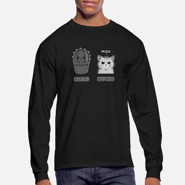 Biology Funny pun-Badass cat cussing and a prickly cactus - Men's Long Sleeve T-Shirt