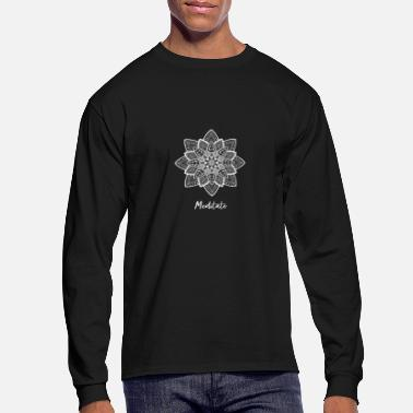 Religion white flower meditation spritual henna yoga chakra - Men's Long Sleeve T-Shirt
