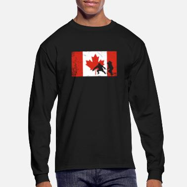 Long Canadian flag hockey long sleeve T-Shirt - Men's Longsleeve Shirt
