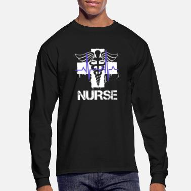 Emergency Nurse - Blue heartbeat T-shirt - Men's Long Sleeve T-Shirt