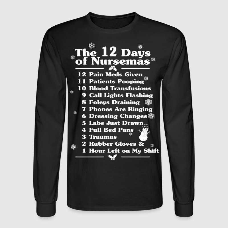 The 12 Days Of Nursemas Nurse Cna Christmas - Men's Long Sleeve T-Shirt