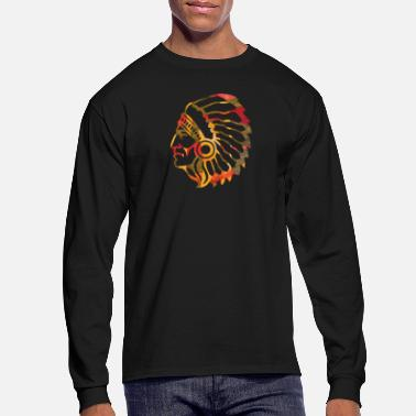 Squaw artTS collage art NATIVE AMERICAN INDIAN  - Men's Long Sleeve T-Shirt
