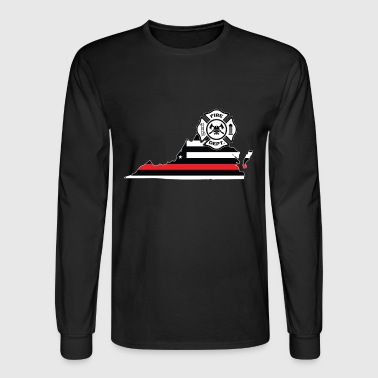 Virginia Firefighter Shield Thin Red Line Flag - Men's Long Sleeve T-Shirt