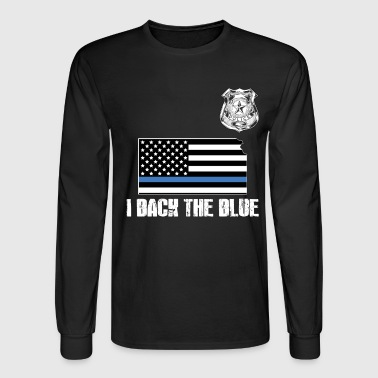 Kansas Police Appreciation Thin Blue Line I Back The Blue - Men's Long Sleeve T-Shirt