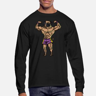 Weights Pug Dog Fitness Workout Boydbuilding Gym Lifting - Men's Longsleeve Shirt