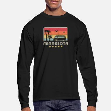 View Minnesota Print. Retro Style MN, USA Graphic - Men's Longsleeve Shirt