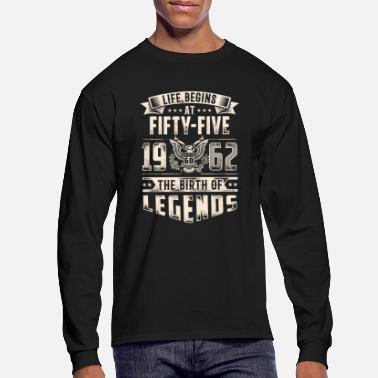 Date Of Birth Life Begins At Fifty Five Tshirt - Men's Longsleeve Shirt
