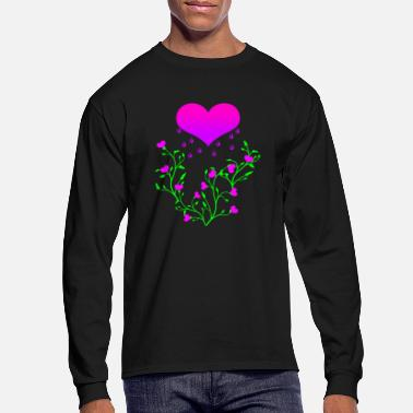 Heart raining pink on heart plants - Men's Longsleeve Shirt