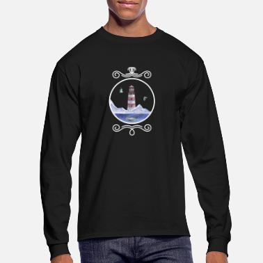 North Sea Lighthouse, sea, blue whale, seagulls North Sea - Men's Longsleeve Shirt