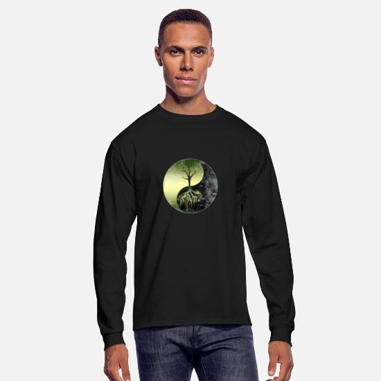 Conservation Long-Sleeve Shirts - Nature Conservation Yin Yang-Save Our Mother Earth - Men's Longsleeve Shirt black