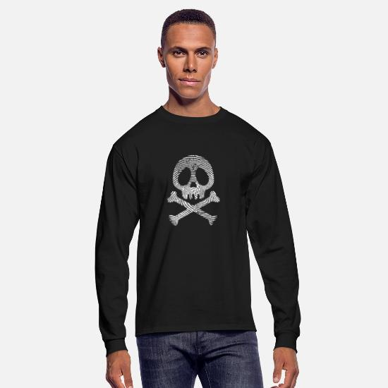 Fingerprint Long-Sleeve Shirts - Skull fingerprint Skull fingerprint - Men's Longsleeve Shirt black