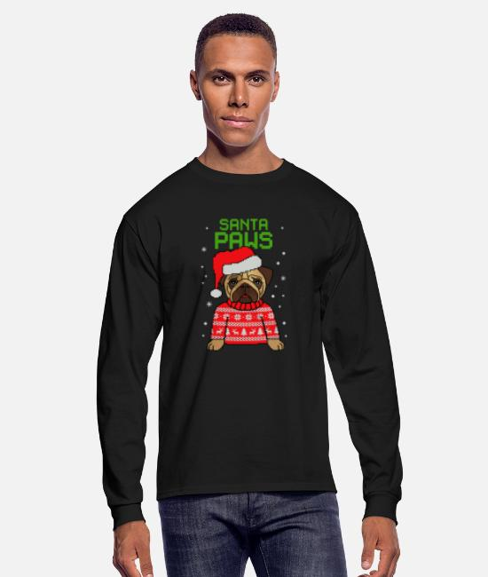 Christmas Carols Long-Sleeved Shirts - Santa Paws Pug Ugly Christmas - Men's Longsleeve Shirt black