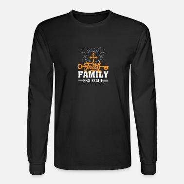 Mens Long Sleeve Cotton Hoodie Faith Family Real Estate Sweatshirt