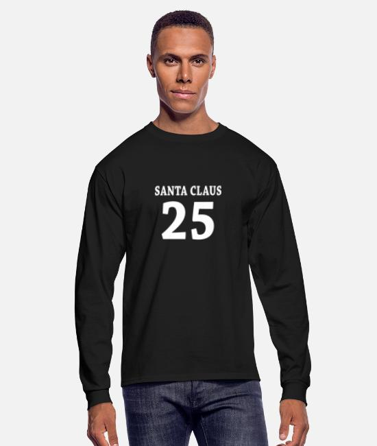 Christmas Long-Sleeved Shirts - santa_claus_baseball_number_christmas_25 - Men's Longsleeve Shirt black