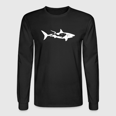 shark scuba diver diving whale dolphin manta - Men's Long Sleeve T-Shirt