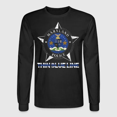 Maryland Police Shirt Thin Blue Line Flag Shirt - Men's Long Sleeve T-Shirt