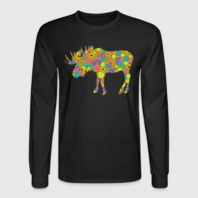 Moose Flower Shirt - Men's Long Sleeve T-Shirt