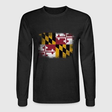 Maryland State Flag Distressed Vintage - Men's Long Sleeve T-Shirt