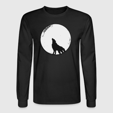 The wolf in the full moon design - Men's Long Sleeve T-Shirt