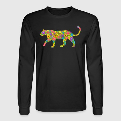 Cougar Flower Tee Shirt - Men's Long Sleeve T-Shirt