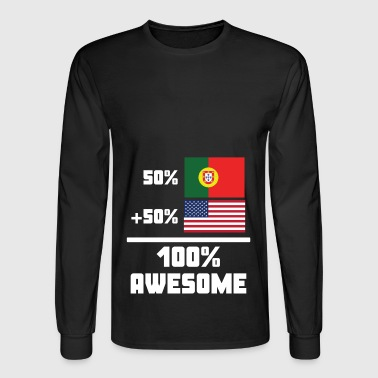 50% Portuguese 50% American 100% Awesome Flag - Men's Long Sleeve T-Shirt
