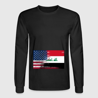 Iraqi American Half Iraq Half America Flag - Men's Long Sleeve T-Shirt
