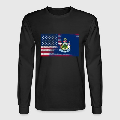 Maine American Flag Fusion - Men's Long Sleeve T-Shirt