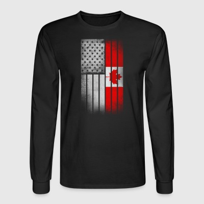 Canadian American Flag - Half Canadian Half Americ - Men's Long Sleeve T-Shirt