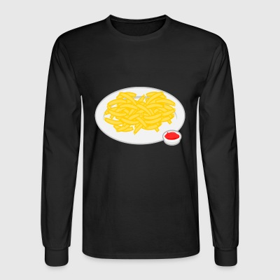 french fries pommes frites ketchup fast food fritt - Men's Long Sleeve T-Shirt