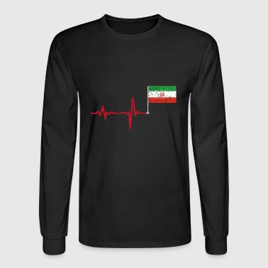 Heartbeat Iran flag gift - Men's Long Sleeve T-Shirt