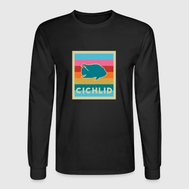 CICHLID Tshirt Gift for Aquarists Retro Vintage - Men's Long Sleeve T-Shirt