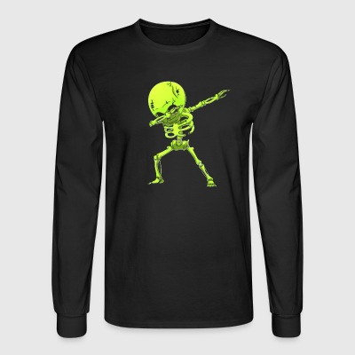 Dabbing Skeleton Halloween Neon Green Dab Dance - Men's Long Sleeve T-Shirt
